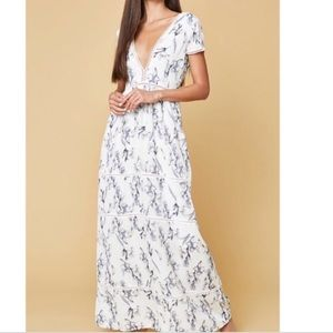 long dress with low v in front white with blue